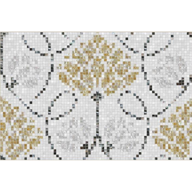 "Mona Lisa 2 Floral Seashell Mosaic Tile Panel, 46.77 x 31.18"", 1 Section"